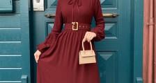 Kemer Detaylı Tesettür Elbise Modası